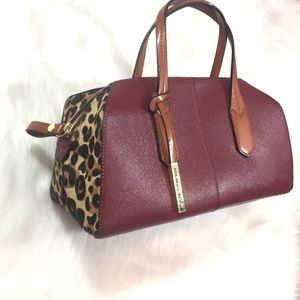 Kate Landry leather and Faux Cowhide Handbag